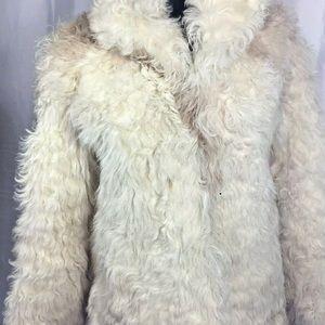 Vintage 70's Curly Lamb Fur Cream jacket coat Sm